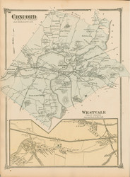 Concord and Westvale, Massachusetts 1875 Old Town Map Reprint - Middlesex Co.