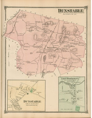 Dunstable and Dunstable Village, Massachusetts 1875 Old Town Map Reprint - Middlesex Co.