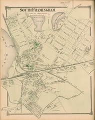 South Framingham, Massachusetts 1875 Old Town Map Reprint - Middlesex Co.