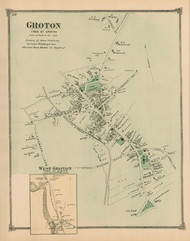 Groton Village and West Groton, Massachusetts 1875 Old Town Map Reprint - Middlesex Co.