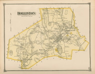 Holliston, Massachusetts 1875 Old Town Map Reprint - Middlesex Co.