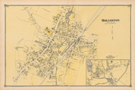 Holliston and East Holliston Villages, Massachusetts 1875 Old Town Map Reprint - Middlesex Co.