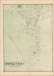 Hopkinton Village - South, Massachusetts 1875 Old Town Map Reprint - Middlesex Co.