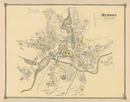 Hudson Village, Massachusetts 1875 Old Town Map Reprint - Middlesex Co.
