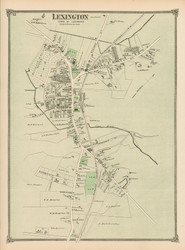 Lexington Village, Massachusetts 1875 Old Town Map Reprint - Middlesex Co.