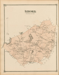Lincoln, Massachusetts 1875 Old Town Map Reprint - Middlesex Co.