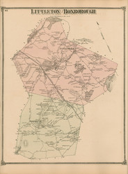 Littleton and Boxborough, Massachusetts 1875 Old Town Map Reprint - Middlesex Co.