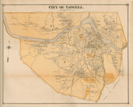 Lowell, Massachusetts 1875 Old Town Map Reprint - Middlesex Co.