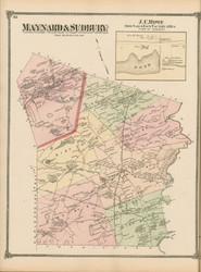 Maynard and Sudbury, Massachusetts 1875 Old Town Map Reprint - Middlesex Co.