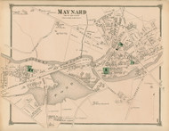 Maynard Village, Massachusetts 1875 Old Town Map Reprint - Middlesex Co.