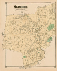 Medford, Massachusetts 1875 Old Town Map Reprint - Middlesex Co.