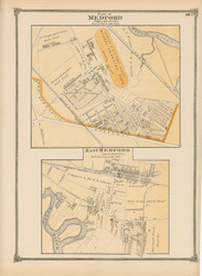 Medford and East Medford Villages, Massachusetts 1875 Old Town Map Reprint - Middlesex Co.