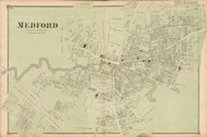 Medford Village, Massachusetts 1875 Old Town Map Reprint - Middlesex Co.