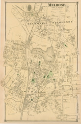 Melrose Village, Massachusetts 1875 Old Town Map Reprint - Middlesex Co.