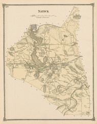 Natick, Massachusetts 1875 Old Town Map Reprint - Middlesex Co.