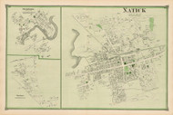 Natick, South Natick and Felchville Villages, Massachusetts 1875 Old Town Map Reprint - Middlesex Co.