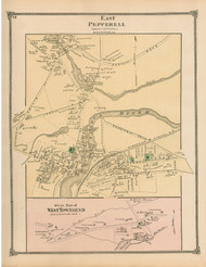 East Pepperell and West Townshend Villages, Massachusetts 1875 Old Town Map Reprint - Middlesex Co.