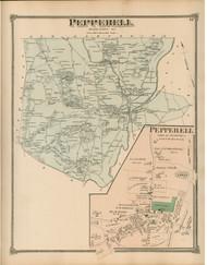 Pepperell and Pepperell Village, Massachusetts 1875 Old Town Map Reprint - Middlesex Co.
