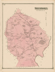 Sherborn, Massachusetts 1875 Old Town Map Reprint - Middlesex Co.