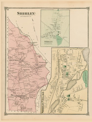 Shirley, Shirley Village and Shirley Center, Massachusetts 1875 Old Town Map Reprint - Middlesex Co.