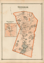 Stoneham and Haywardville, Massachusetts 1875 Old Town Map Reprint - Middlesex Co.