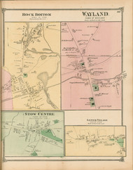 Stow Center, Lower Village, Rock Bottom and Wayland Villages, Massachusetts 1875 Old Town Map Reprint - Middlesex Co.