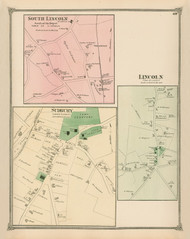 Sudbury, Lincoln and South Lincoln Villages, Massachusetts 1875 Old Town Map Reprint - Middlesex Co.