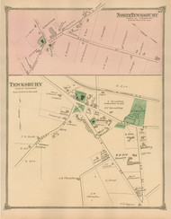 Tewksbury and North Tewksbury Villages, Massachusetts 1875 Old Town Map Reprint - Middlesex Co.