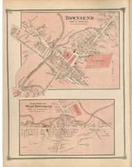 Townshed and West Townsend Villages, Massachusetts 1875 Old Town Map Reprint - Middlesex Co.