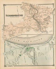 Tyngsborough and Tyngsborough Village, Massachusetts 1875 Old Town Map Reprint - Middlesex Co.