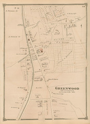 Greenwood - Wakefield, Massachusetts 1875 Old Town Map Reprint - Middlesex Co.
