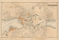 Wakefield Village, Massachusetts 1875 Old Town Map Reprint - Middlesex Co.