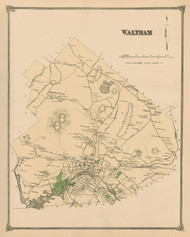 Waltham, Massachusetts 1875 Old Town Map Reprint - Middlesex Co.