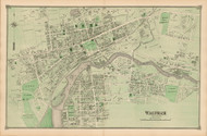 Waltham Village, Massachusetts 1875 Old Town Map Reprint - Middlesex Co.