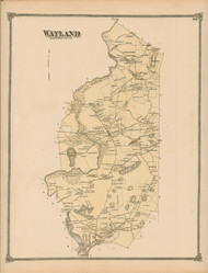Wayland, Massachusetts 1875 Old Town Map Reprint - Middlesex Co.