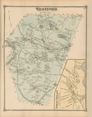 Westford, Massachusetts 1875 Old Town Map Reprint - Middlesex Co.