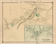 Westford and Graniteville Villages, Massachusetts 1875 Old Town Map Reprint - Middlesex Co.