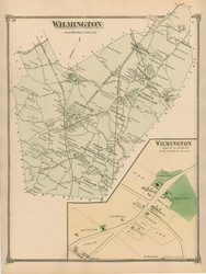 Wilmington, Massachusetts 1875 Old Town Map Reprint - Middlesex Co.