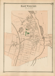 East Woburn Village, Massachusetts 1875 Old Town Map Reprint - Middlesex Co.