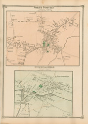 North Woburn and Cummingsville Villages, Massachusetts 1875 Old Town Map Reprint - Middlesex Co.