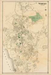Woburn Village, Massachusetts 1875 Old Town Map Reprint - Middlesex Co.