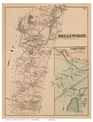 Bellingham and Caryville Village, Massachusetts 1876 Old Town Map Reprint - Norfolk Co.