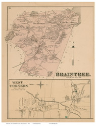 Braintree and West Corners Village, Massachusetts 1876 Old Town Map Reprint - Norfolk Co.