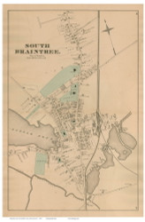 South Braintree, Massachusetts 1876 Old Town Map Reprint - Norfolk Co.