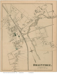 Braintree Village, Massachusetts 1876 Old Town Map Reprint - Norfolk Co.