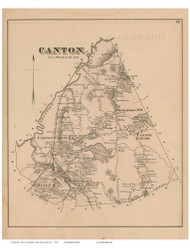 Canton, Massachusetts 1876 Old Town Map Reprint - Norfolk Co.