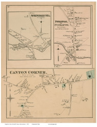 Canton Corner, Springdale Station and Ponkapoag Villages, Massachusetts 1876 Old Town Map Reprint - Norfolk Co.