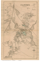 Canton Village, Massachusetts 1876 Old Town Map Reprint - Norfolk Co.