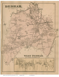 Dedham, Massachusetts 1876 Old Town Map Reprint - Norfolk Co.