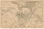 Dedham Village, Massachusetts 1876 Old Town Map Reprint - Norfolk Co.